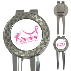 Survivor Stronger Than Cancer Pink Ribbon Golf Pitchfork & Ball Marker by breastcancerstuff