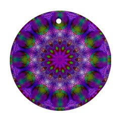 Rainbow At Dusk, Abstract Star Of Light Round Ornament by DianeClancy