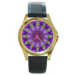 Rainbow At Dusk, Abstract Star Of Light Round Leather Watch (gold Rim)  by DianeClancy