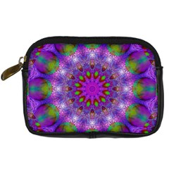 Rainbow At Dusk, Abstract Star Of Light Digital Camera Leather Case by DianeClancy