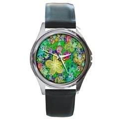 Beautiful Flower Power Batik Round Leather Watch (silver Rim) by rokinronda