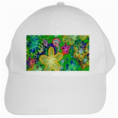 Beautiful Flower Power Batik White Baseball Cap by rokinronda