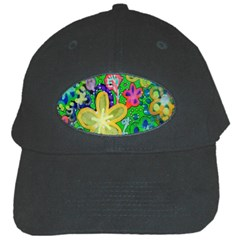 Beautiful Flower Power Batik Black Baseball Cap by rokinronda