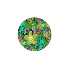 Beautiful Flower Power Batik Golf Ball Marker 4 Pack by rokinronda