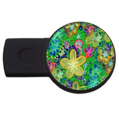 Beautiful Flower Power Batik 2gb Usb Flash Drive (round) by rokinronda