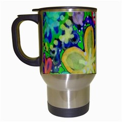 Beautiful Flower Power Batik Travel Mug (white) by rokinronda