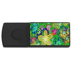 Beautiful Flower Power Batik 4gb Usb Flash Drive (rectangle) by rokinronda