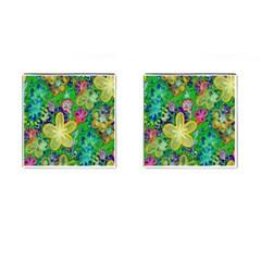 Beautiful Flower Power Batik Cufflinks (square) by rokinronda