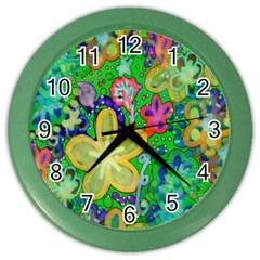 Beautiful Flower Power Batik Wall Clock (color)