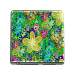 Beautiful Flower Power Batik Memory Card Reader With Storage (square) by rokinronda