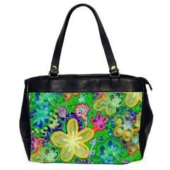Beautiful Flower Power Batik Oversize Office Handbag (two Sides) by rokinronda