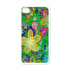 Beautiful Flower Power Batik Apple Iphone 4 Case (white) by rokinronda