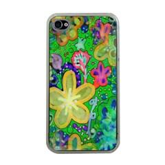 Beautiful Flower Power Batik Apple Iphone 4 Case (clear) by rokinronda