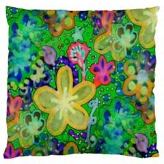 Beautiful Flower Power Batik Large Cushion Case (single Sided)  by rokinronda