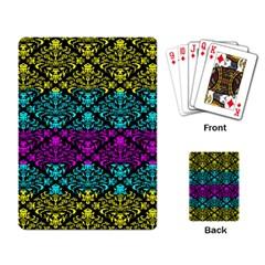 Cmyk Damask Flourish Pattern Playing Cards Single Design by DDesigns