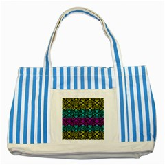 Cmyk Damask Flourish Pattern Blue Striped Tote Bag by DDesigns