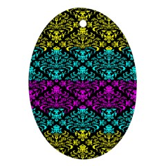 Cmyk Damask Flourish Pattern Oval Ornament (Two Sides) by DDesigns