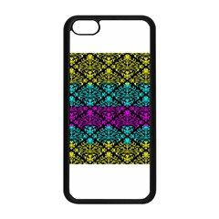 Cmyk Damask Flourish Pattern Apple Iphone 5c Seamless Case (black) by DDesigns