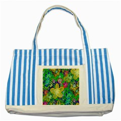 Beautiful Flower Power Batik Blue Striped Tote Bag by rokinronda