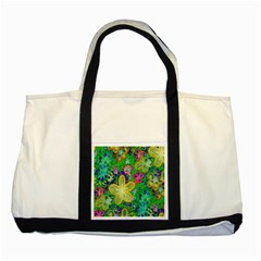 Beautiful Flower Power Batik Two Toned Tote Bag by rokinronda