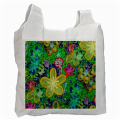 Beautiful Flower Power Batik White Reusable Bag (one Side) by rokinronda