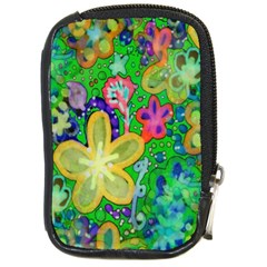 Beautiful Flower Power Batik Compact Camera Leather Case by rokinronda