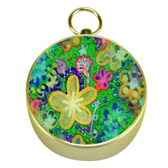 Beautiful Flower Power Batik Gold Compass by rokinronda