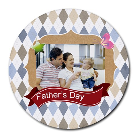 Fathers Day By Dad   Collage Round Mousepad   B1atla9dlufa   Www Artscow Com 8 x8 Round Mousepad - 1