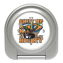 Shut Up And Play Hockey Travel Alarm Clock by MegaSportsFan
