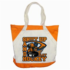 Shut Up And Play Hockey Accent Tote Bag by MegaSportsFan