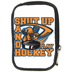 Shut Up And Play Hockey Compact Camera Leather Case by MegaSportsFan