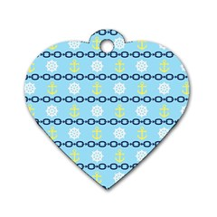 Anchors & Boat Wheels Dog Tag Heart (one Sided)