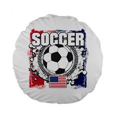 Soccer United States Of America 15  Premium Round Cushion  by MegaSportsFan
