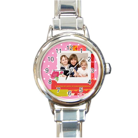Mothers Day By Mom   Round Italian Charm Watch   4h3hxmp5hlma   Www Artscow Com Front