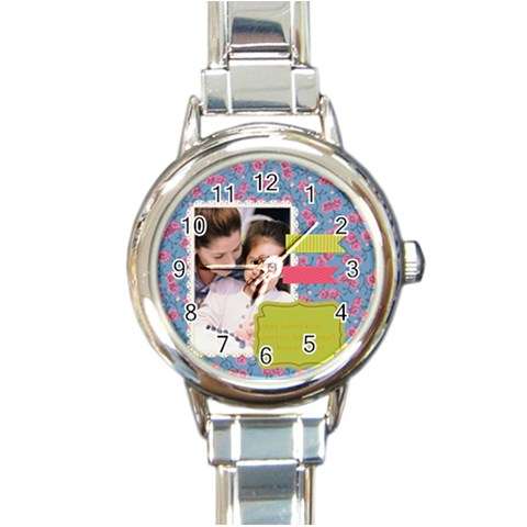 Mothers Day By Mom   Round Italian Charm Watch   1zvwj7n9a39e   Www Artscow Com Front