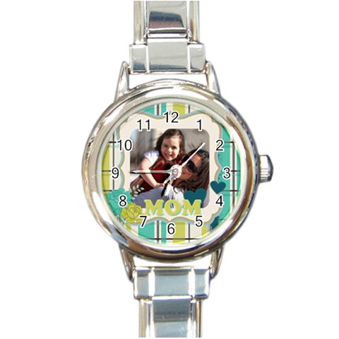 Mothers Day By Mom   Round Italian Charm Watch   Iq2jccz3ephr   Www Artscow Com Front