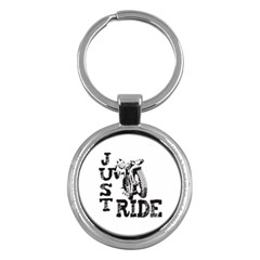 Black Just Ride Motorcycles Key Chain (round)