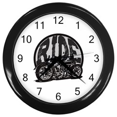 Ride Vintage Motorcycles Wall Clock (black) by creationsbytom
