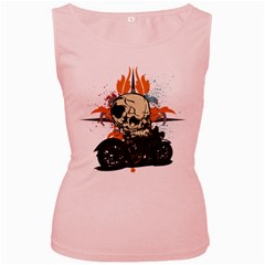 Skull Classic Motorcycle Women s Pink Tank Top by creationsbytom