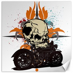 Skull Classic Motorcycle Canvas 16  X 16  by creationsbytom