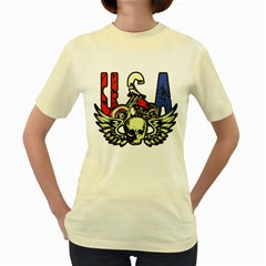 Usa Classic Motorcycle Skull Wings Women s Yellow T Shirt by creationsbytom