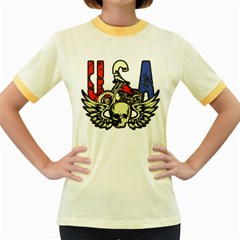 Usa Classic Motorcycle Skull Wings Women s Fitted Ringer T Shirt by creationsbytom