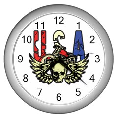 Usa Classic Motorcycle Skull Wings Wall Clock (silver) by creationsbytom