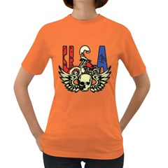 Usa Classic Motorcycle Skull Wings Women s Dark T Shirt by creationsbytom