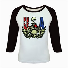 Usa Classic Motorcycle Skull Wings Kids Baseball Jersey by creationsbytom