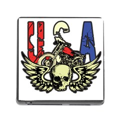 Usa Classic Motorcycle Skull Wings Memory Card Reader With Storage (square) by creationsbytom