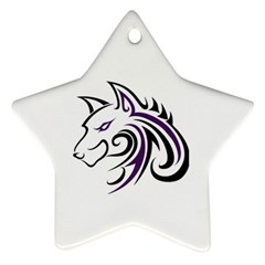 Purple and Black Wolf Head Outline Facing Left Side Ornament (Star) by WildThings