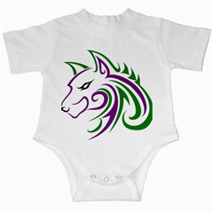Purple And Green Wolf Head Outline Facing Left Side Infant Creeper by WildThings