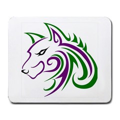 Purple And Green Wolf Head Outline Facing Left Side Large Mousepad by WildThings