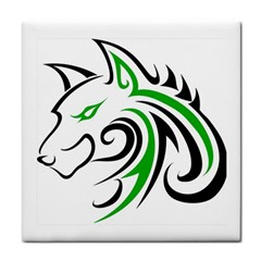 Green And Black Wolf Head Outline Facing Left Side Tile Coaster by WildThings